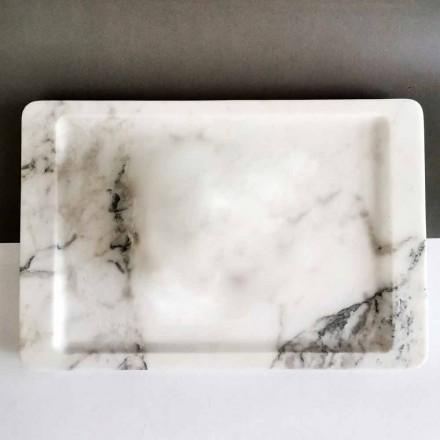 Rektangulärt magasin i modern, ådringad vit marmor tillverkad i Italien - Stora