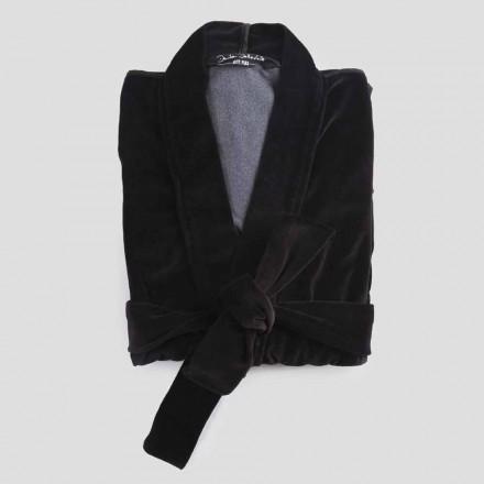 Kimono-mantel i svart chenille med Farnese-spets, lyx tillverkad i Italien - Kyoto