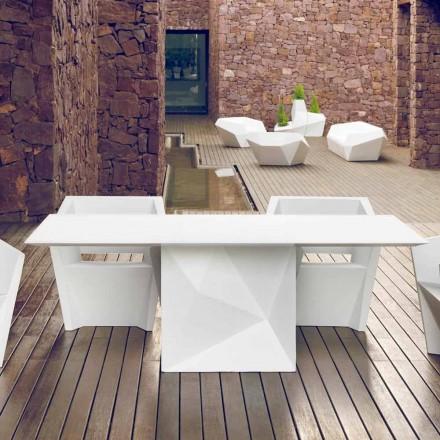 Vondom Faz vitlackat trädgårdsbord L200xP100cm med design